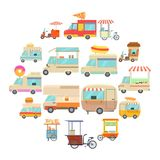Street food vehicles icons set, cartoon style. Street food vehicles icons set. Cartoon illustration of 16 street food vehicles vector icons for web Royalty Free Stock Image