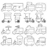 Street food vehicles icons set, outline style Stock Photos