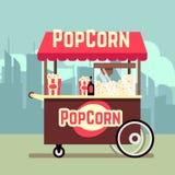 Street food vending cart with popcorn machine vector illustration. Street food vending cart with popcorn machine. Vector mobile kiosk with pop corn, illustration stock illustration