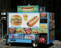 Street food vendor cart in Manhattan. NEW YORK - MARCH 16, 2017: Street food vendor cart in Manhattan. There are about 4,000 mobile food vendors licensed by the Stock Photo