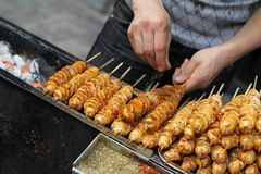 Street food vendor seasoning tofu kebabs Royalty Free Stock Photo