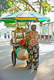 Street food vendor in the street of Ho Chi Minh , Vietnam. Royalty Free Stock Images