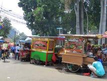 Street Food Vendors in Jakarta. Street food vendors sell Indonesian food in Jakarta Royalty Free Stock Image