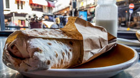Street Food Wrap / Shawarma with buttermilk or ayran. Royalty Free Stock Image