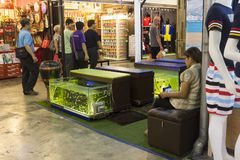 Street foot fish care stand in Hua Hin night market Royalty Free Stock Photo