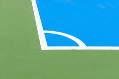 The street footbal field,close up to the corner line. The futsal field in close up scene at the corner of the field Royalty Free Stock Photography