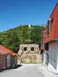 Street with fortification and Marian Hill in Levoca stock photos