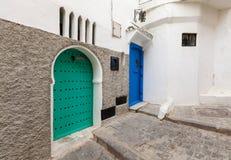 Street fragment in old Medina. Tangier Stock Photos