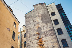 Street fragment with yellow living houses Stock Photo