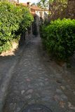 Street in french village of Castelnou in Pyrenees orientales Royalty Free Stock Image