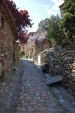 Street in french village of Castelnou in Pyrenees Royalty Free Stock Photos