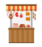 Street fresh meat store. Butcher shop,  showcase, icon flat style.   isolated on white background. Counter trade with. Street fresh meat store. Butcher shop Royalty Free Stock Photos