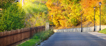 Street, Freyburg in autumn Royalty Free Stock Photography