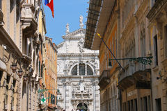 Street in front of the church of San Moise in Venice, Italy Royalty Free Stock Photography