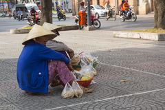 Street fruit and peanuts seller in Vietnam Royalty Free Stock Images