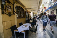 Street full of bars and restaurants, Spain Stock Image