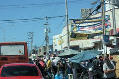 Street full of people in the Cumana city stock photography
