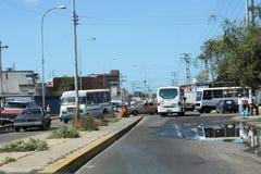 Street full of traffic in the Cumana city stock image