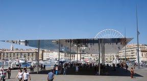 Street furniture - sun shield. Marseille harbor - Street furniture - sun shield - France stock photos