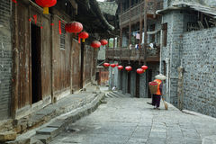 Street in Furong (Hibiscus) ancient village Stock Photos