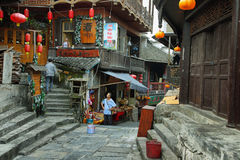 Street in Furong (Hibiscus) ancient village Stock Images