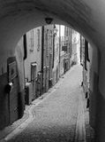 Street in Gamla Stan Stockholm in black and white. Gamla stan The Old Town, until 1980 officially Staden mellan broarna The Town between the Bridges, is the old Stock Photography