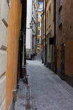 The street in Gamla Stan, Stockholm. The old street in Gamla Stan, Stockholm, Sweden Royalty Free Stock Images