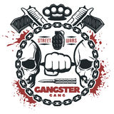 Street Gang Wars Print. Isolated round composition with blood stains skulls weapons and editable text in a round chain flat vector illustration Royalty Free Stock Images