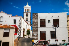 The street in Garachico with Santa Ana Church royalty free stock photos