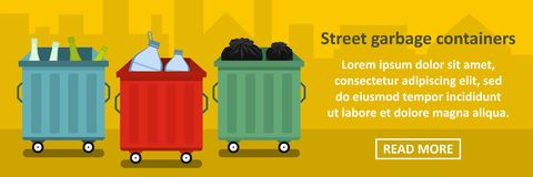 Street garbage containers banner horizontal concept Royalty Free Stock Photography