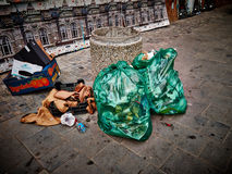 Street garbage plastic bags Royalty Free Stock Photography