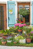 Street garden. Small street garden in front of a house entrance with pot plants, France Royalty Free Stock Image