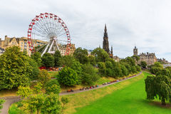 Street Gardens王子在爱丁堡,苏格兰 免版税库存照片