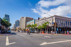 Street of The Gaslamp Quarter in San Diego Royalty Free Stock Photography