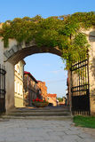 Street gate. The arched gate and view on the old street in Cesis city, Latvia, Europe Stock Photography