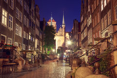 Street of Gdansk Old Town at Night Royalty Free Stock Photo