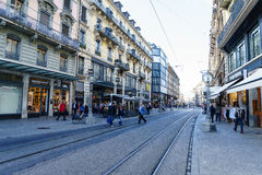 Street in Geneva, Switzerland Royalty Free Stock Photos