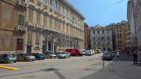 Street in Genoa stock video
