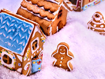 Street of ginger snap houses and gingerbread man top view. Stock Images