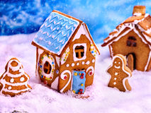 Street of gingerbread houses for Christmas. Food concept. Royalty Free Stock Photos