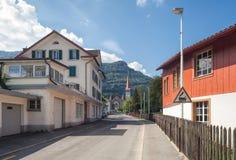 Street in Goldau. Goldau, Switzerland - 8 September, 2014: view along the Rigistrasse street. Goldau is a city in the community of Arth, canton of Schwyz Stock Photography