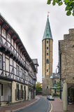 Street in Goslar, Germany. Street with old decorative houses in Goslar, Germany Stock Photos
