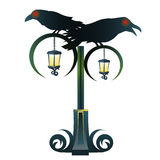 Street Gothic lantern with two black Raven Stock Image