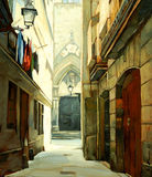 Street in Gothic quarter of Barcelona Stock Photography