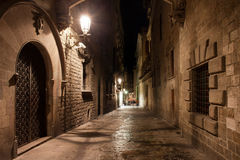 Street in Gothic Quarter of Barcelona at Night. Street in old Gothic Quarter (Barri Gotic) of Barcelona at night in Catalonia, Spain Stock Images