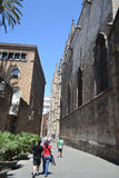 Street in the Gothic Quarter of Barcelona. Stock Photo