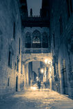 Street  in gothic quarterat the night, Barcelona, Spain Stock Photography