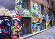 Street with graffiti in Melbourne Royalty Free Stock Image