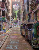 Street with graffiti in Melbourne Royalty Free Stock Photos