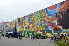 Street graffiti Minsk, Belarus september 2016 Vulica Brasil Festival Stock Image